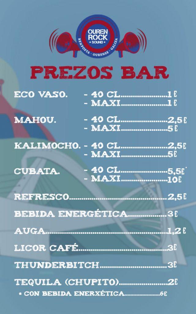 Listaxe de prezos de consumicións